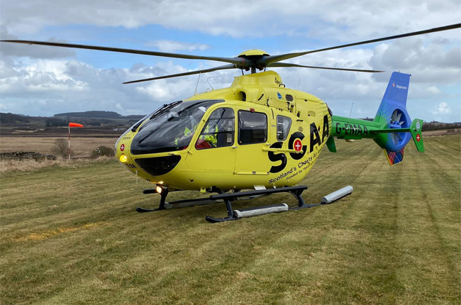Help from above with the launch of HeliMed79 in Scotland – ready for action with the corpuls3